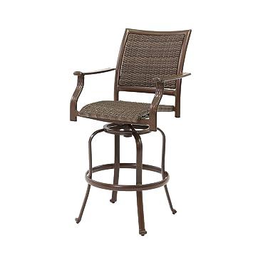 Amazoncom Panama Jack Outdoor Island Cove Woven Swivel Barstool - Swivel patio bar stools