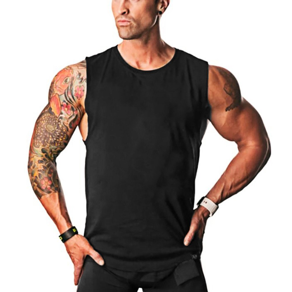 MODOQO Men's Tank Tops Sleeveless Bodybuilding Fitness Solid T-Shirt Gym Sports Tee (Black,CN-M/US-XS)