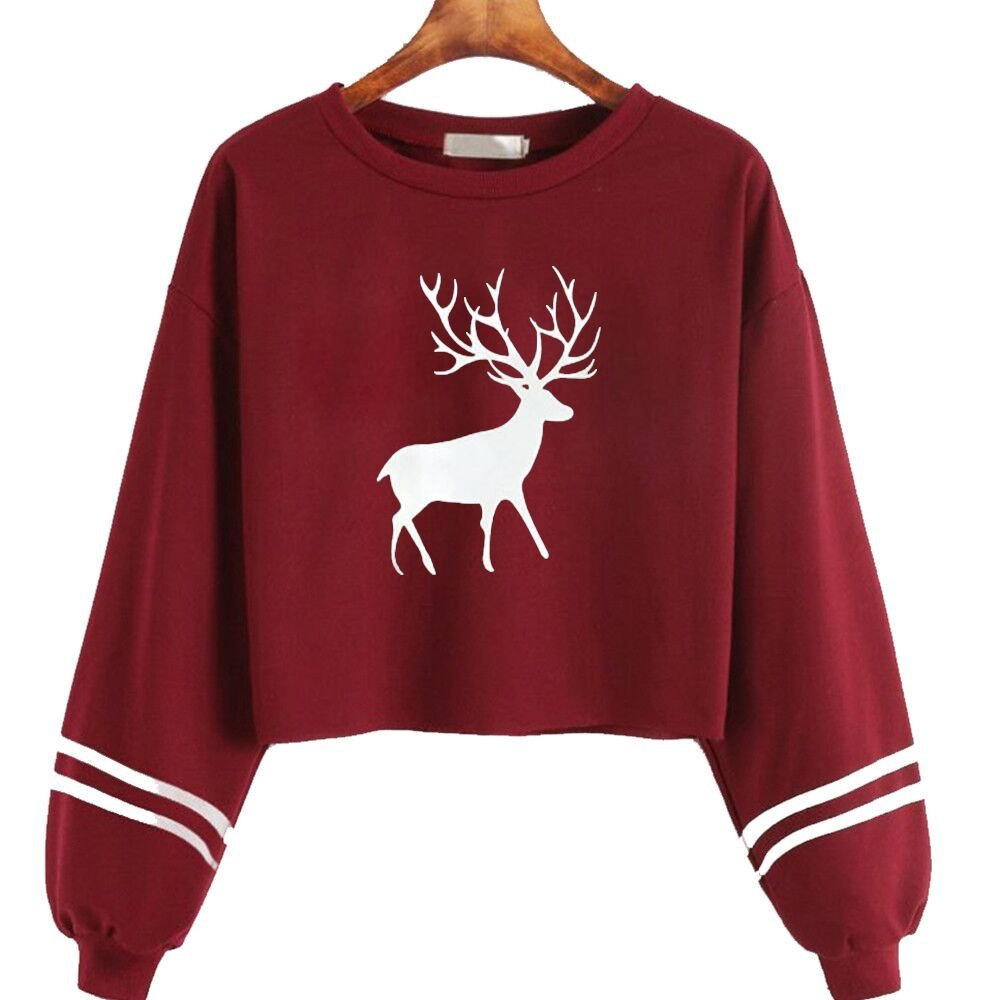 Women Hoodies and Sweatshirts Women's Christmas Long Sleeve Deer Print Sweatshirt Casual Tops for Teen Girls