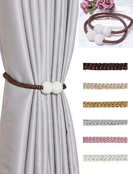 4pcs Drape Tie Back Pearl Tiebacks Curtain Hold Set for Offices Beige