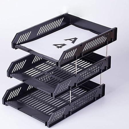 Carpetas Soporte de archivo de 3 capas, de plástico caja de archivo horizontal acabado de archivo estante de almacenamiento de datos cesta de archivo de almacenamiento soporte de archivo de múltiples: Amazon.es: