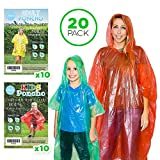 20 Rain Ponchos Family Pack - Adults and Children Poncho -...