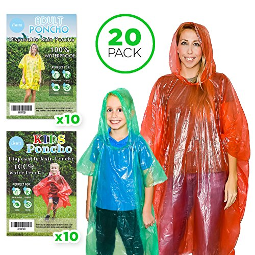 Lingito 20 Rain Ponchos Family Pack - Adults and Children Poncho - Disposable Emergency Ponchos (0.2) one time use