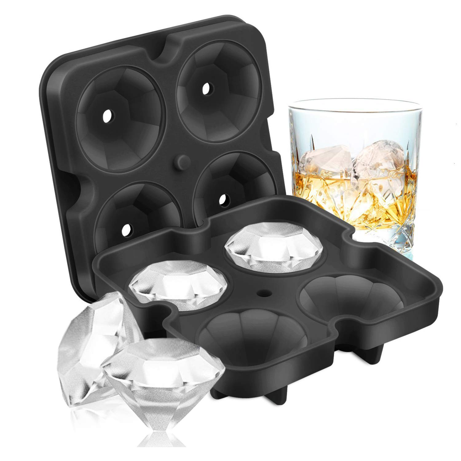 Ice Cube Trays, Diamond-Shaped Fun Ice Cube Molds BPA Silicone Flexible Ice Maker for Chilling Whiskey Cocktails (Black)