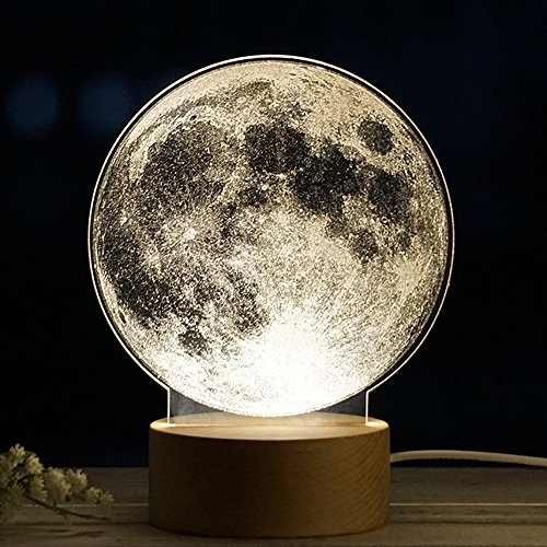 New Galaxy Exquisite Night Light - Milky Way Panel Acrylic 3D LED Earth Lamp Night Light Desk Gift (Moon) Milky Light