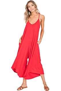 44dcd99a6e06f Annabelle Women's Comfy Spaghetti Strap Sleeveless Jumpsuits with Pockets
