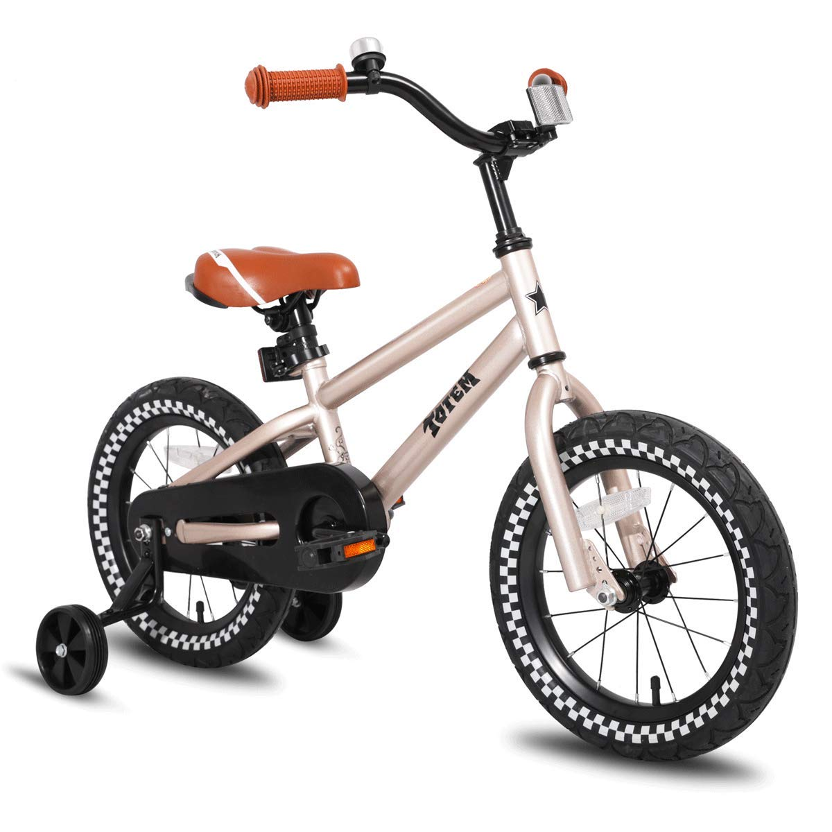JOYSTAR Kids Bike with Training Wheels for Girls Boys, 12 14 16 Inch Red Orange Blue Silver