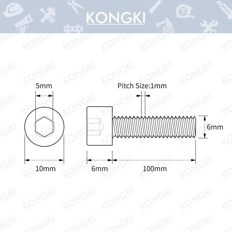 40 PCS 12.9 Grade Alloy Steel M6-1.0 x 8mm Socket Head Cap Screws Black Oxide Finish Allen Socket Drive Machine Thread