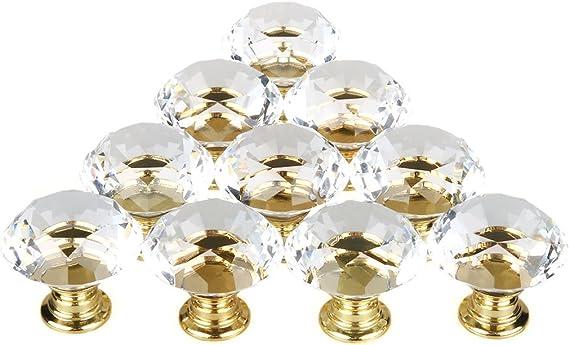 3 x 40 mm cristal porte en verre bouton argent base-UK Stock