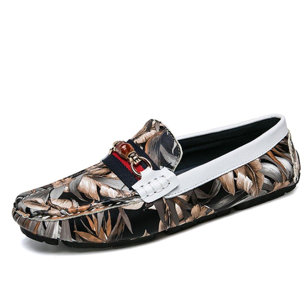 Zapatos de los hombres zapatos de guisantes de camuflaje de moda zapatos de cuero respirable de la piel suave cómodo zapatos de negocios de la personalidad ( Color : Tyrants Gold , Tamaño : 42 ) 42|Tyrants Gold