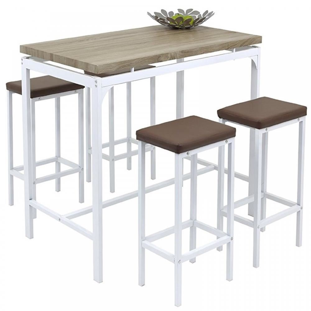 Gr7 Home High Counter Bar Set 7 Piece Breakfast Table and Chairs Bistro Pub  Kitchen Dining Stools