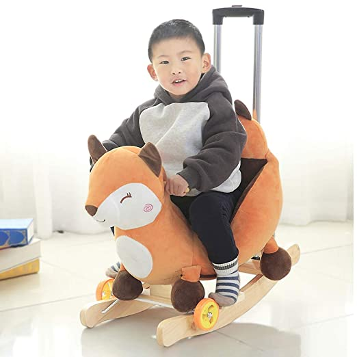 Amazon.com: HUYP Kindergarten Childrens Wooden Horse Toy Baby Rocking Chair Solid Wood Wagon with Music Boy Girl: Home & Kitchen