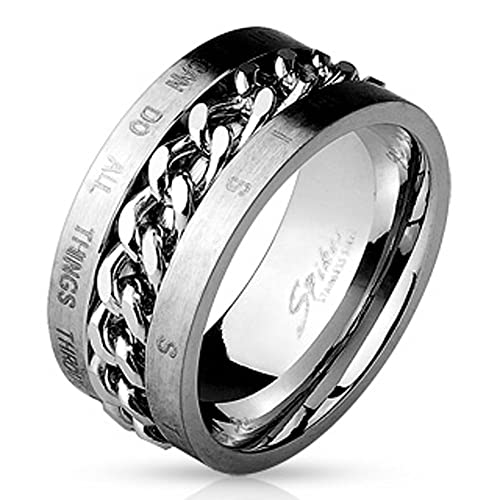 T5 Philippians 4 13 Wedding Band Mens Ring Christian Scripture I Can