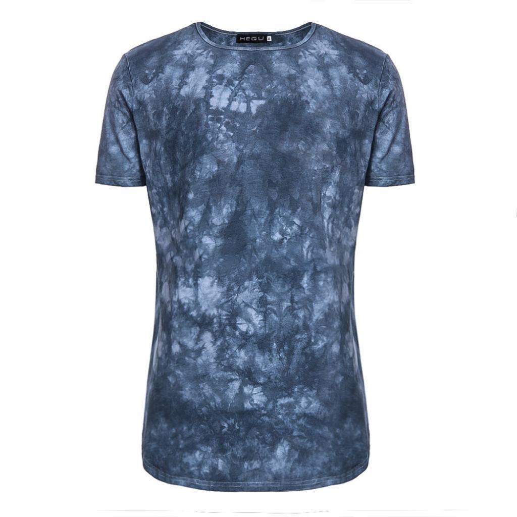 YJYDADA Top Blouse,Men's Summer Fashion Casual Tie Dye Short Sleeve O-Neck T-Shirt Top Blouse Tee (M)