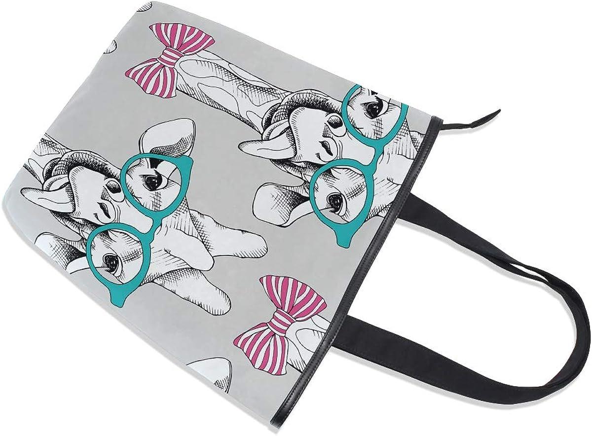 11/×4/×13.6 in Giraffe Bow Glasses Cartoon Leisure Fashion Canvas Handbag for Women Large Tote Bag Shoulder Bag for Gym Beach Travel Daily Bags
