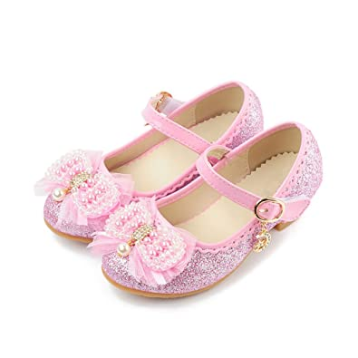 363207d168dcb Amazon.com: Girls Glitter Princess Shoes with Pearl Bowknot-(Pink-12 ...