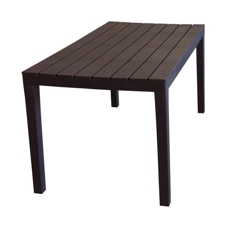 Wohaga Campingtisch 'Sumatra' Tischplatte in Holz-Optik Vollkunststoff Mokka - 138x78xH72cm
