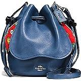COACH PETAL BAG CROSSBODY IN PEBBLE LEATHER SILVER/MARINA (BLUE)