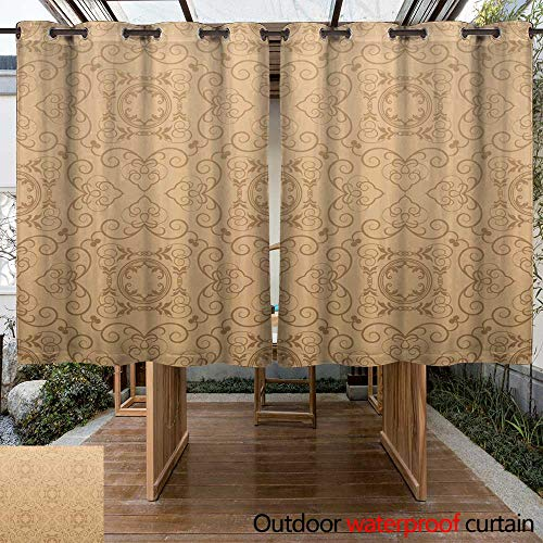RenteriaDecor Outdoor Curtain for Patio Damask Wallpaper W96 x L72