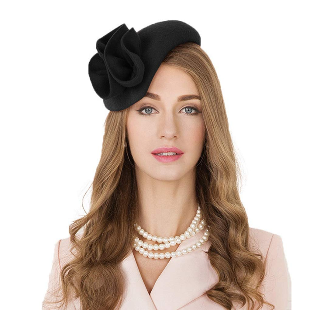 HappyShopDecoration Fascinator Hats Ladies Wool Flower Cocktail Hat Wedding Women Pillbox Felt Tea Party Fedoras Black