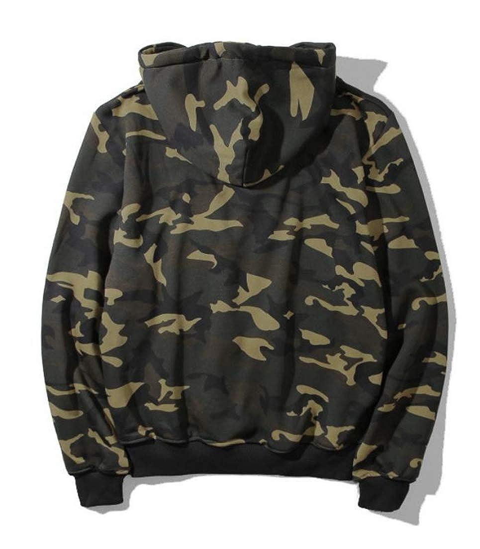 Joe Wenko Mens Hoodie Long Sleeve Fitness Tops Camo Drawstring Sweatshirts