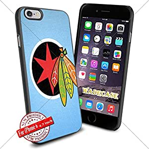 Chicago Blackhawks Logo WADE7384 NHL iPhone 6 4.7 inch Case Protection Black Rubber Cover Protector