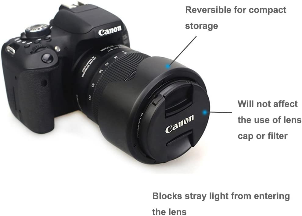 Canon ET-63 Replacement LXH Dedicated Bayonet Lens Hood Compatible with Canon EF-S 55-250mm f//4-5.6 is STM Lens