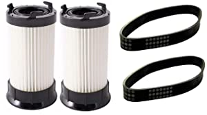 YZDD 2 Eureka DCF4 DCF18 Washable Vacuum Filter + 2 U Belts 61120D 62132 63073 61770 Xcsx