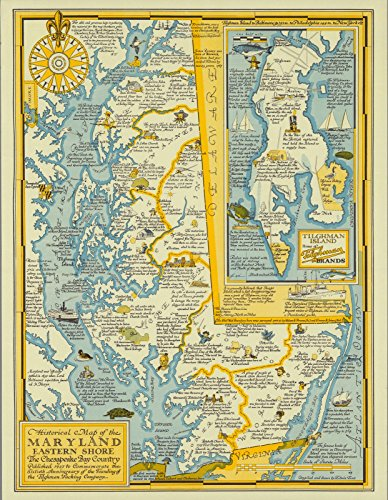 Historical Map Reproductions (Historic Map   Historical Map of The Maryland Eastern Shore, The Chesapeake Bay Country, 1957,   Antique Vintage Decor Poster Wall Art Reproduction   24in x 18in)