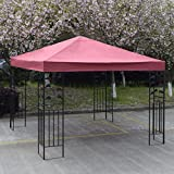 Red 10' X 10' Gazebo Top Cover Patio Canopy Replacement 1-Tier