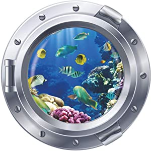 DNVEN 17 inches x 17 inches 3D Porthole Deep Blue Sea Under the Sea Decorative Peel and Stick Wall Art Sticker Decals for Kids Rooms Bedrooms Nursery