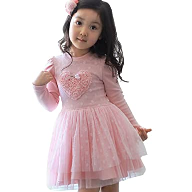 Kid Girls Long Sleeve Tutu Dress Baby Toddlers Pink Lace Love Heart Birthday Outfits