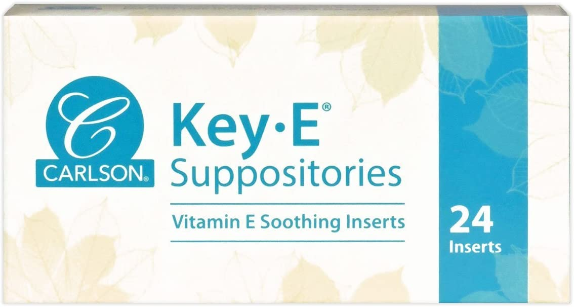 Carlson - Key-E Suppositories, 30 IU Vitamin E Suppository, Lubricates Dry Areas, Treatment for Women and Men, Vaginal & Rectal, 24 Count: Health & Personal Care