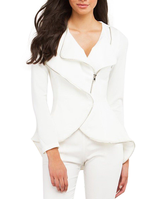 HaoDuoYi Womens Irregular Hem Zipper Long Sleeve Plain Jacket(M,White)