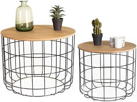 Lifa Living Basket Table Gigogne Bois Et Metal Table Basse