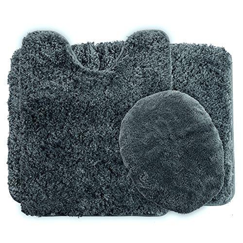 (Lavish Home 3-Piece Super Plush Non-Slip Bath Mat Rug Set, Platinum)