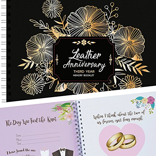 Third Wedding Anniversary Gift For Couples, 3rd Anniversary Memory Keepsake Book, 3 Year Anniversary Gifts For Husband & Wife To Document Special Memories, 8X8 Inches, 24 Pages, Stickers Included!