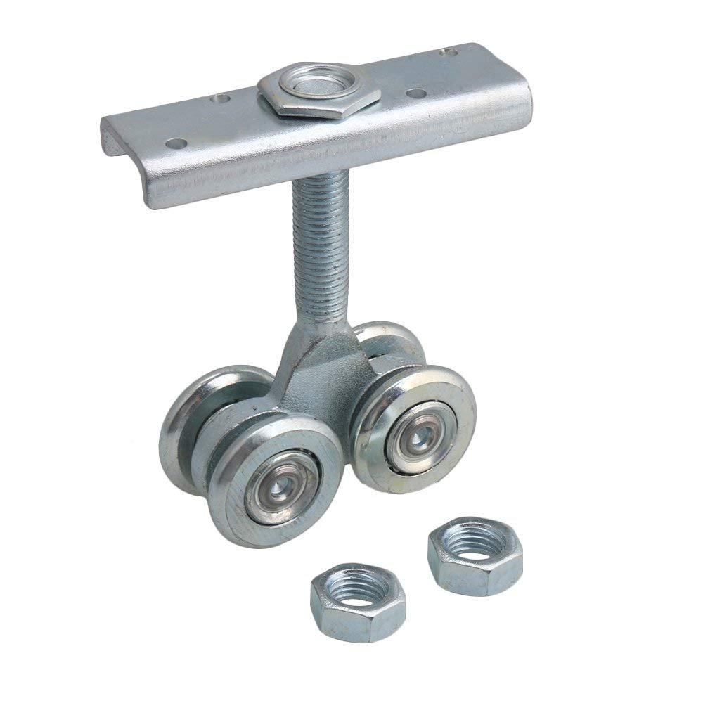 Dia 54mm Steel Double Wheel Rail Hanging Trolley Silver Sliding Track Roller Hanging Barn Door Rail Trolley Wheel H5 w/Nuts by Happynest Box Rail Hangers (Image #1)