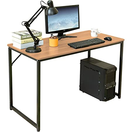 H A Modern Home Computer Desk Simple Study Desk Industrial Style Folding Laptop Table Home Office Notebook Desk WALNUT,47in