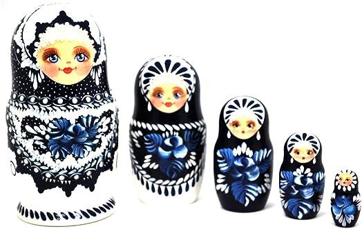 Gabriella s Gifts Authentic Russian Hand Painted Handmade Blue Nesting Dolls Set of 5 Pcs Matryoshkas