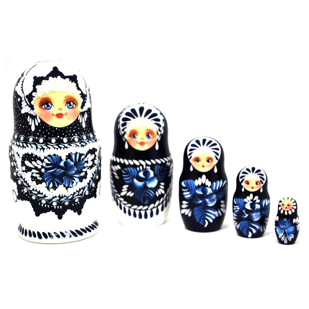 Gabriella's Gifts Authentic Russian Hand Painted Handmade Blue Nesting Dolls Set of 5 Pcs Matryoshkas