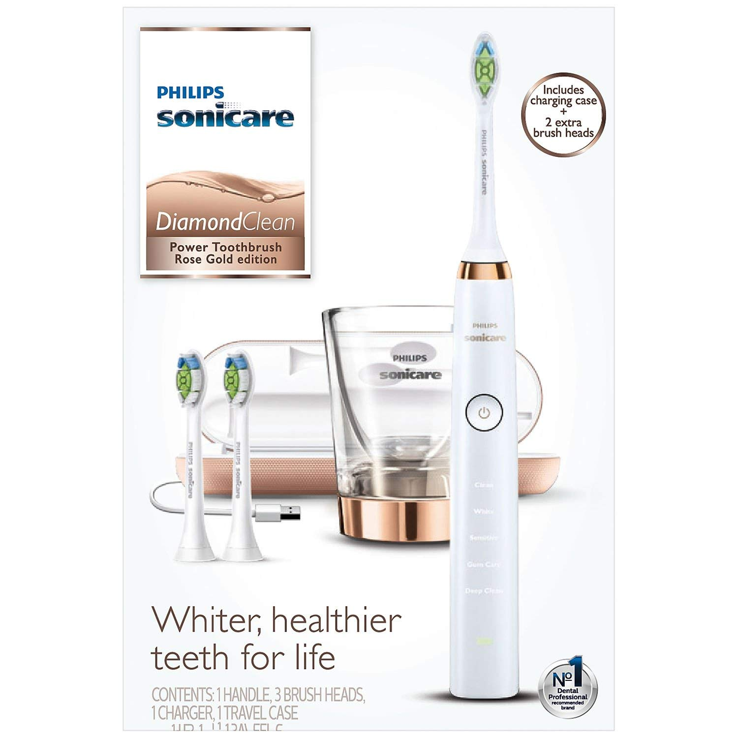 Philips Sonicare DiamondClean Power Toothbrush with Travel Charging Case - Gold