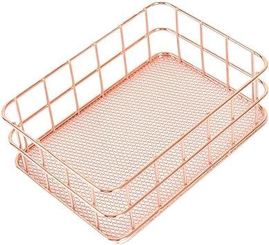 Cesta de almacenamiento,Metal almacenamiento cesta malla caja Vintage cocina oficina almacenamiento escritorio organizador LMMVP (Oro rosa, Pequeña (16.8*12*6 cm)): Amazon.es: Bricolaje y herramientas