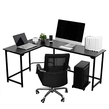 VIVOHOME Contemporary L Shaped Black Corner Computer Desk for Home Office