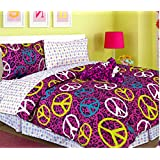 Teen Tween Girls Kids Bedding - ANNIE LEOPARD Bed In A Bag TWIN SIZE Comforter set - Plush Toy Included - Peace Signs Purple, Pink, Turquoise Blue, Green, Black and White