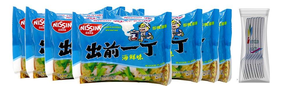 Nissin Ramen Noodles Soup Nissin Demae Seafood Instant Ramen Noodles 7 Packs Free Fork (Seafood)