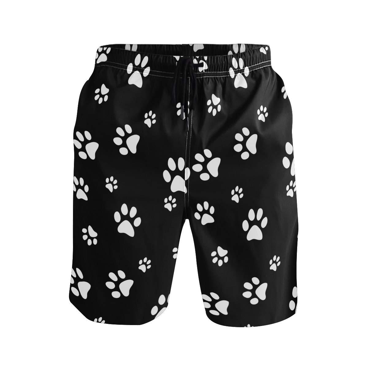 KUWT Mens Swim Trunks Animal Puppy Paw Print Quick Dry Beach Shorts Summer Surf Board Shorts