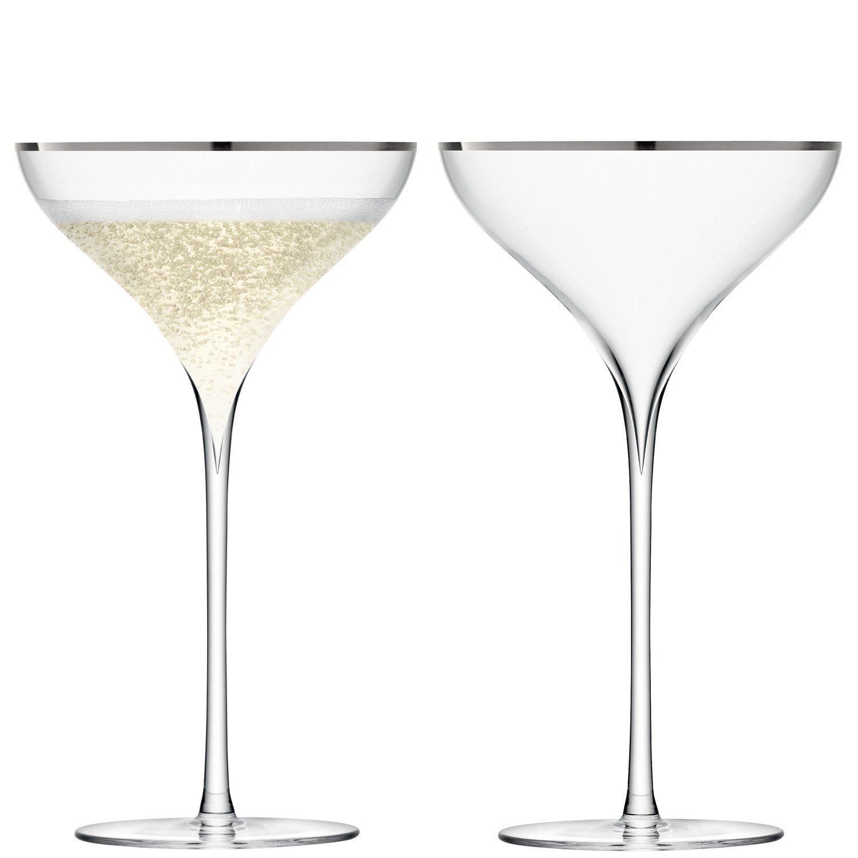 LSA International 200 ml Savoy Champagne Flute, Platinum (Pack of 2) G246-07-381