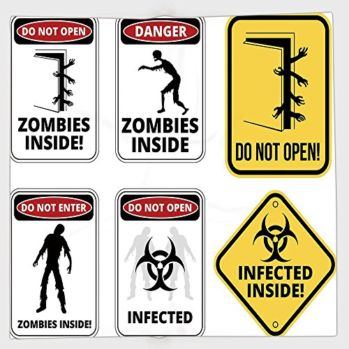 Cotton Microfiber Hand Towel,Zombie Decor,Warning Signs for Evil Creatures Paranormal Construction Do Not Open Artwork,Multicolor,for Kids, Teens, and Adults,One Side Printing by iPrint
