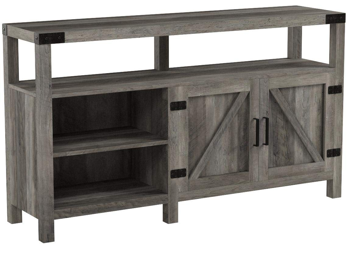 Home Accent Furnishings New 58 Inch Wide Barndoor Highboy Television Stand (58 Inch, Grey Wash)